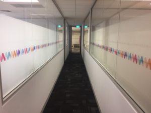 graphic glass services hallway print
