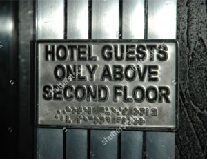 Braille business signage - hotel guests above second floor