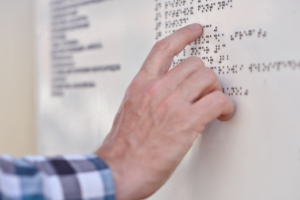 Braille signage - in action board